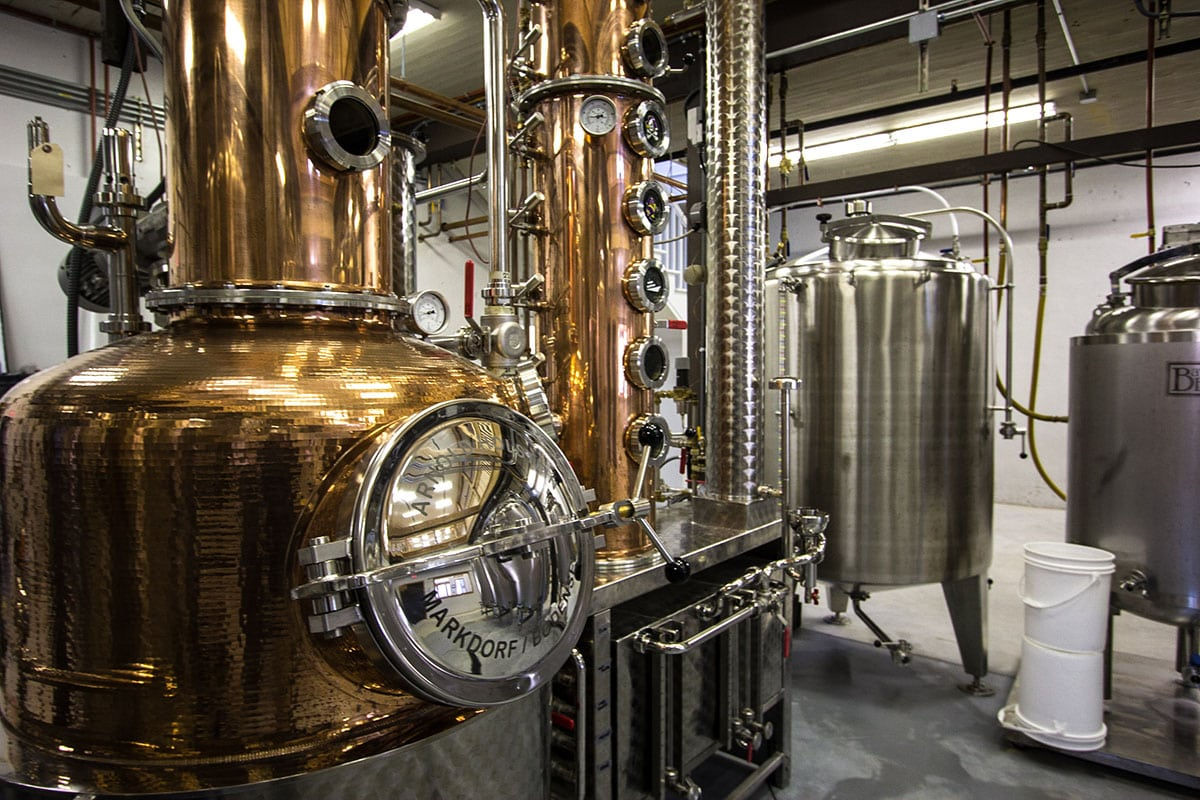 The Outer Banks Distilling still during a rum tour